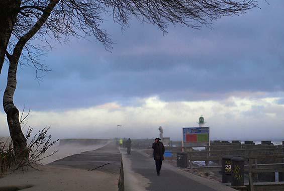 Sandsturm in Warnemünde